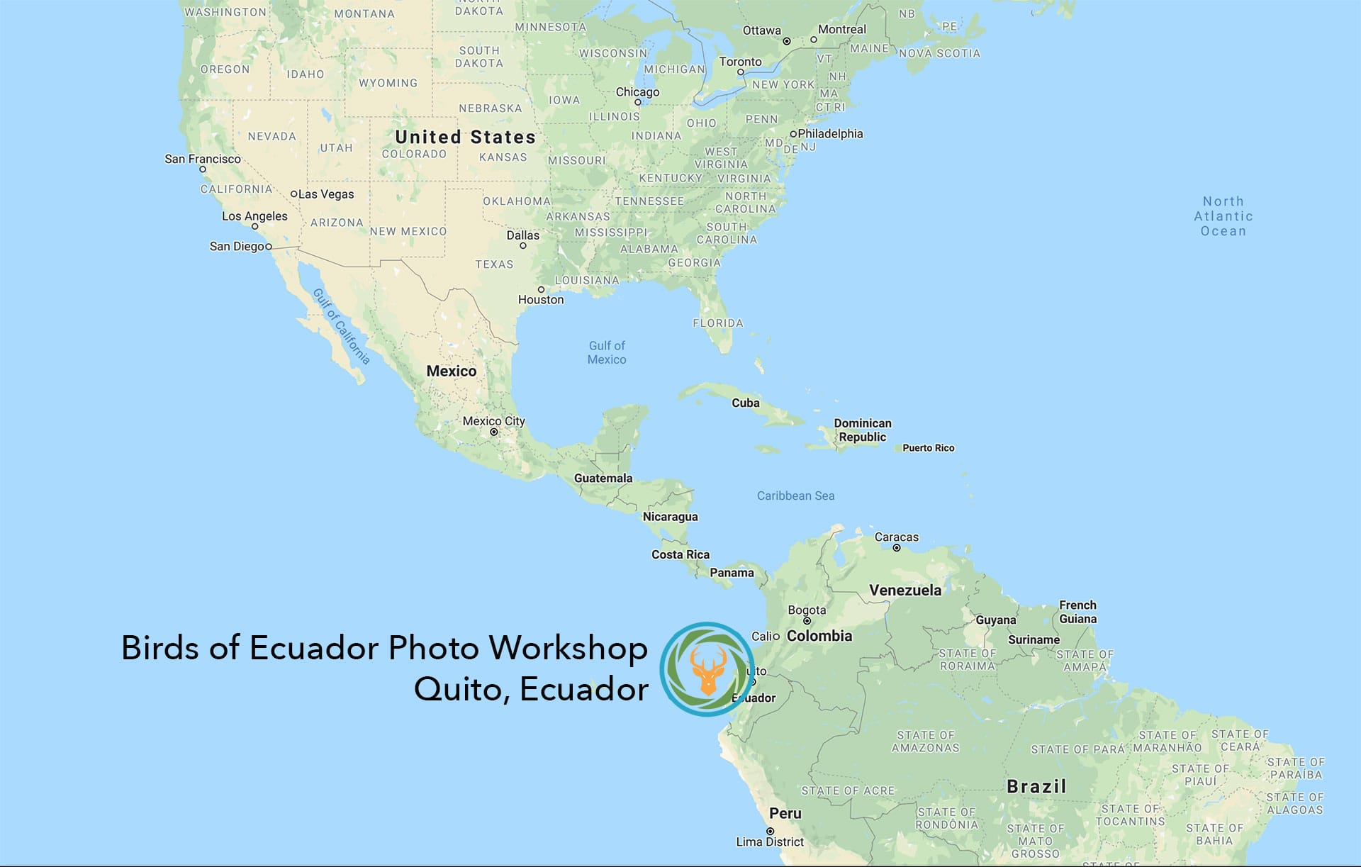 Birds of Ecuador Photography Workshop Map